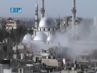 لحظه سقوط موشک بر مسجد خالد بن ولید در حمص سوریه
